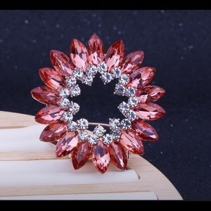 Women Pink Crystal Brooch, scarf buckle clip